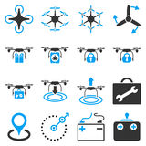 Air copter flat icon set Royalty Free Stock Image