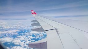 air craft wing and​ sky. Royalty Free Stock Images
