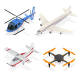 Air Crafts Set Isometric View. Vector. Air Crafts Set Isometric View - Jet Airplane, Helicopter Passenger Transport and Air Drone Quadrocopter. Vector Stock Photos