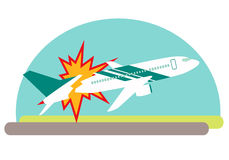 Air crash. Airplane exploded on impact with the ground. Vector illustration Royalty Free Stock Image