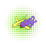 Air crash icon, comics style. Air crash icon in comics style on a white background Stock Photo