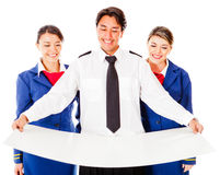 Air crew holding a model Royalty Free Stock Photos