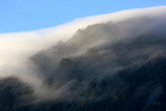 Air current. Cloud current over the mountain Royalty Free Stock Photos