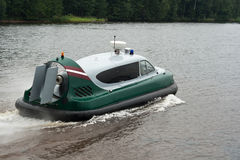 Air-cushion boat on high speed.  royalty free stock image
