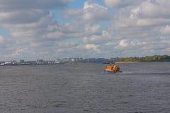 Air-cushion craft on Volga river in Nizhny Royalty Free Stock Image