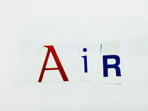 Air - Cutout Words Collage Of Mixed Magazine Letters with White Background. Caption composed with letters torn from magazines with White Background Stock Photos