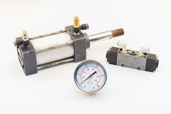 Air cylinder and Pneumatic Valve Stock Photo