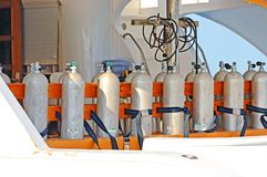 Air Cylinders on a Diving Boat Royalty Free Stock Image