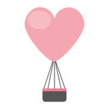 Air de ballon chaud avec la forme de coeur Image stock