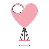 Air de ballon chaud avec la forme de coeur Photo libre de droits