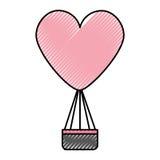 Air de ballon chaud avec la forme de coeur Photographie stock libre de droits
