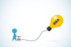 Air de pompage d'homme d'affaires dans le ballon d'ampoule, l'idée et le concept d'affaires Photographie stock