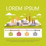 Air de rebut sale de tuyau d'usine de pollution de nature et bannière d'Infographic d'environnement polluée pareau Photographie stock libre de droits