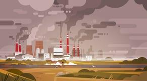 Air de rebut sale de tuyau d'usine de pollution de nature et environnement pollué pareau Image stock