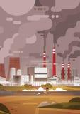Air de rebut sale de tuyau d'usine de pollution de nature et environnement pollué pareau Image libre de droits