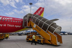 Air de Vietjet à l'aéroport international de Da Nang Photos stock