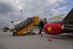 Air de Vietjet à l'aéroport international de Da Nang Photographie stock libre de droits