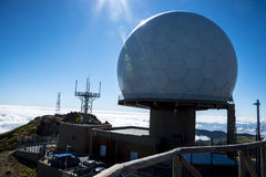 Air Defence Radar Station  on Pico do Arieiro, at 1,818 m high, is Madeira island`s third highest peak Royalty Free Stock Photography
