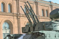 Fragment of caterpillar air defense system. Air Defense on courtyard of Military History Museum of artillery, engineer and signal corps in St. Petersburg Royalty Free Stock Photography