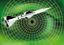 The air defense. The flying missile and radar on the background of a large green human eye Royalty Free Stock Image