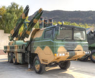 Air defense missile system. Advanced medium altitude air defense missile system chinese military equipment, number hq12.this photo is taken by hdr Royalty Free Stock Photo