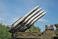 Air defense missiles. On position against blue sky Royalty Free Stock Photo