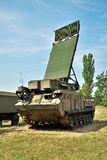 Air defense radar. Air defense mobile radar armored vehicle on position Royalty Free Stock Image
