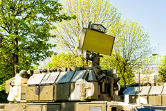 Air defense radars of military mobile antiaircraft modern systems. Air defense radars of military mobile antiaircraft systems, modern army industry Royalty Free Stock Photos