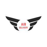 Air delivery logo with black wings Royalty Free Stock Image