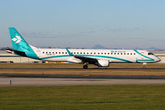 Air Dolomiti. PRAGUE, CZECH REPUBLIC - JANUARY 13: Air Dolomiti Embraer 195LR taxis to take off from PRG Airport on January 13, 2015. Air Dolomiti  is an Italian Stock Image
