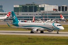Air Dolomiti. PRAGUE, CZECH REPUBLIC - JULY 29: Embraer ERJ-195 of Air Dolomiti lands to PRG Airport in Prague on July 29, 2017.  Air Dolomiti is the Italian Stock Photos