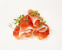 Air dried ham with thyme royalty free stock photography