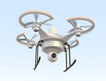 Air drone with camera flying in the sky. Air drone with security camera flying in the sky Royalty Free Stock Photos