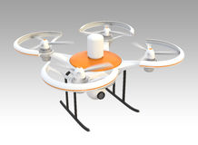 Air drone with camera on gray background Stock Photo
