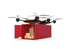 Air drone carrying a cargo container Stock Image