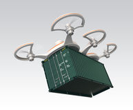 Air drone carrying a cargo container in the sky Stock Images