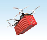 Air drone carrying a cargo container in the sky Royalty Free Stock Image