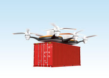Air drone carrying a cargo container in the sky Stock Image