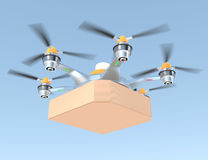 Air drone carrying single pizza box with copy space Royalty Free Stock Images
