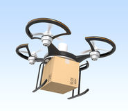 Air drone with carton package flying in the sky. Fast delivery concept Stock Images