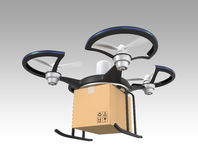 Air drone with carton package on gray background Royalty Free Stock Photo