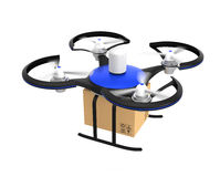 Air drone with carton package isolated on white background Stock Images
