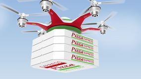 Air drone delivering pizza  for fast food take out concept stock video footage