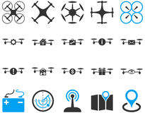 Air drone and quadcopter tool icons Stock Image