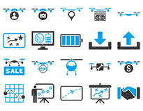 Air drone and quadcopter tool icons Royalty Free Stock Images