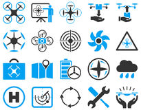 Air drone and quadcopter tool icons Royalty Free Stock Photo