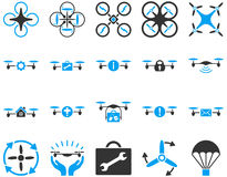 Air drone and quadcopter tool icons Stock Photo