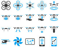 Air drone and quadcopter tool icons Stock Photos