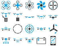 Air drone and quadcopter tool icons Royalty Free Stock Photography