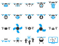 Air drone and quadcopter tool icons Stock Images